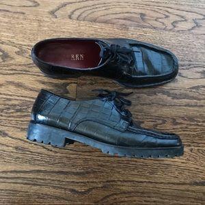 Ralph Lauren vintage croc skin black loafer shoes